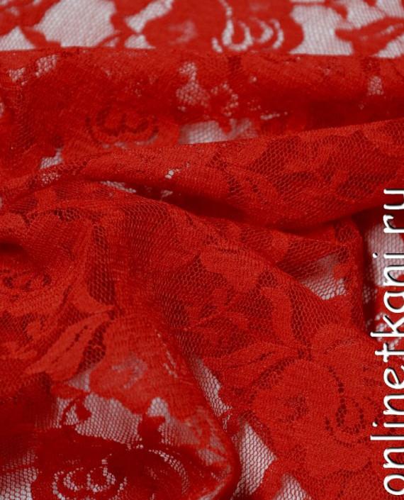 Ткань Гипюр-стрейч 117 цвет красный цветочный картинка 2