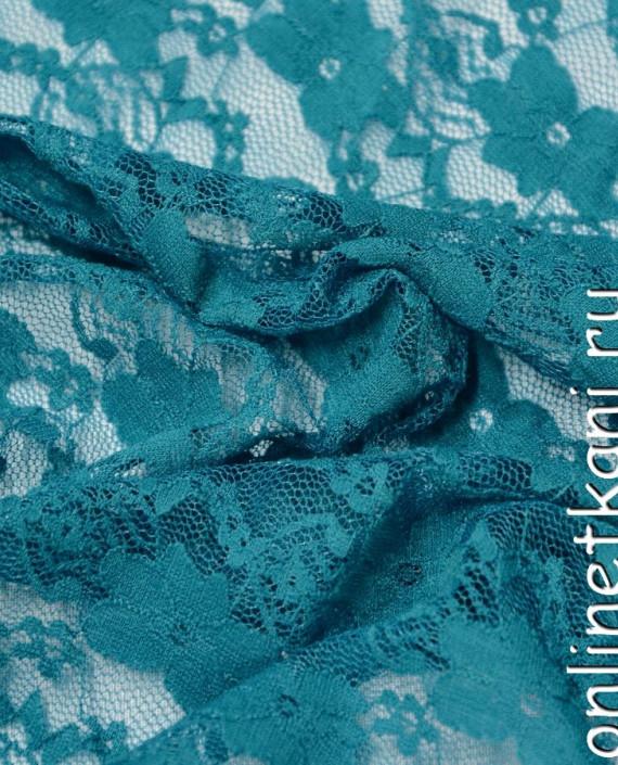 Ткань Гипюр-стрейч 119 цвет бирюзовый цветочный картинка 1