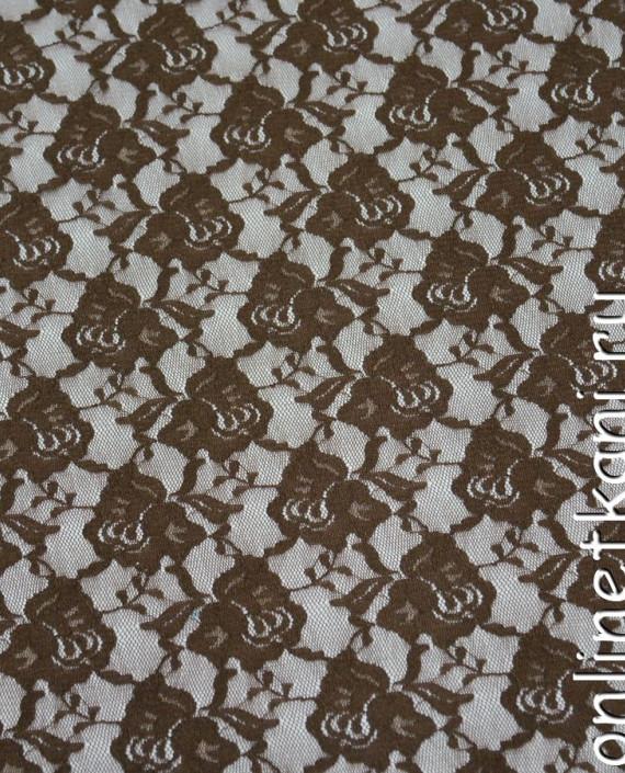 Ткань Гипюр-стрейч 125 цвет коричневый цветочный картинка