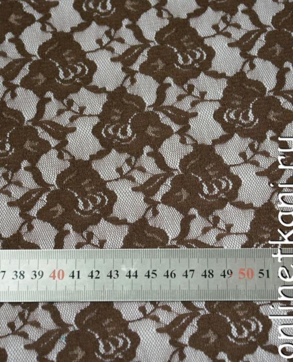 Ткань Гипюр-стрейч 125 цвет коричневый цветочный картинка 1