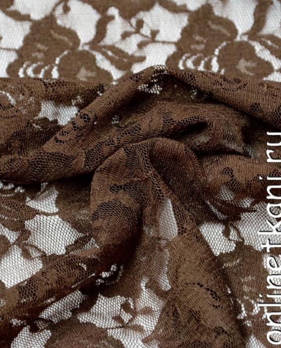 Ткань Гипюр-стрейч 125 цвет коричневый цветочный картинка 2