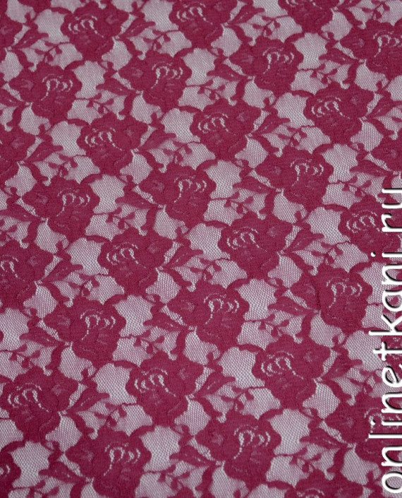 Ткань Гипюр-стрейч 126 цвет малиновый цветочный картинка