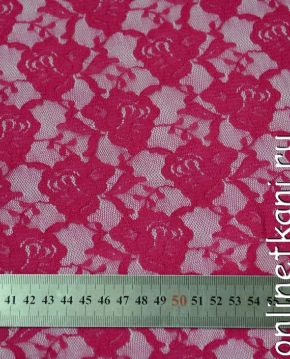 Ткань Гипюр-стрейч 126 цвет малиновый цветочный картинка 1