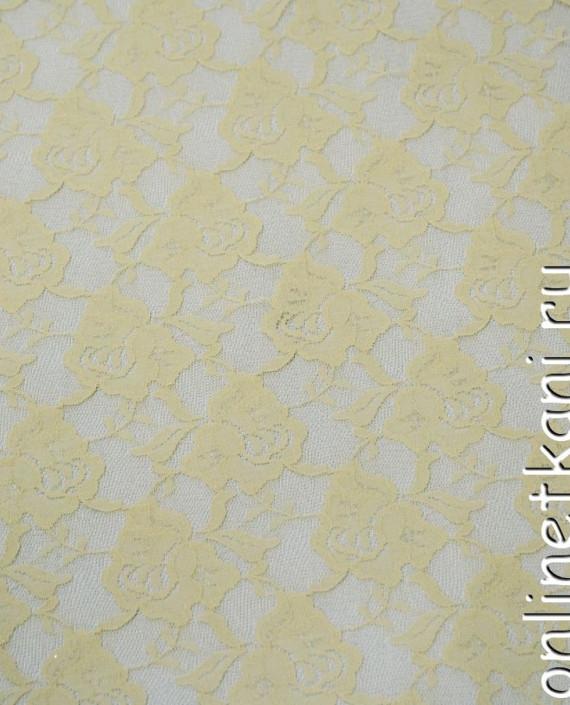 Ткань Гипюр-стрейч 128 цвет бежевый цветочный картинка