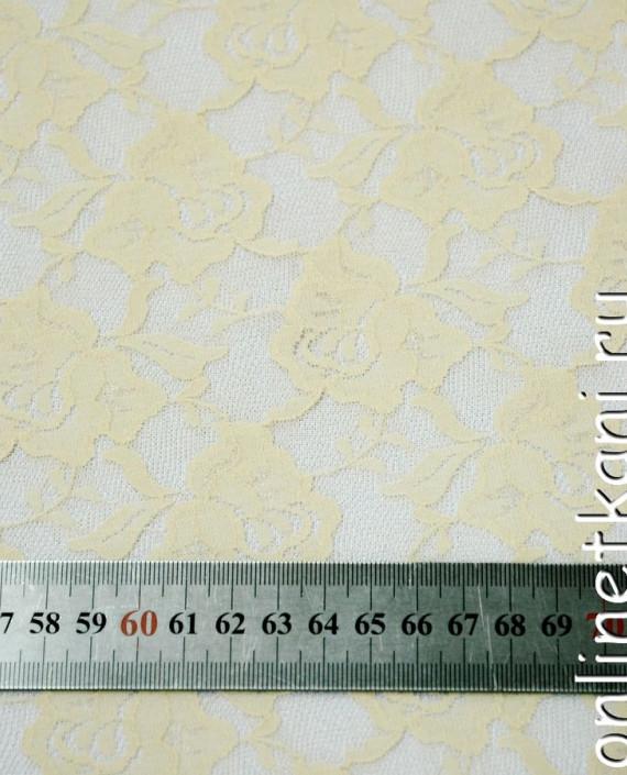Ткань Гипюр-стрейч 128 цвет бежевый цветочный картинка 1