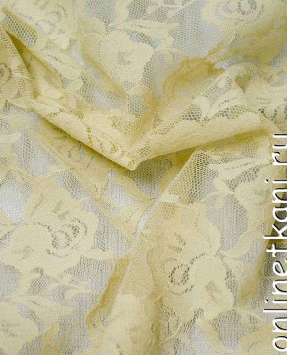 Ткань Гипюр-стрейч 128 цвет бежевый цветочный картинка 2