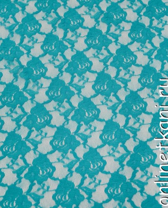 Ткань Гипюр-стрейч 129 цвет бирюзовый цветочный картинка