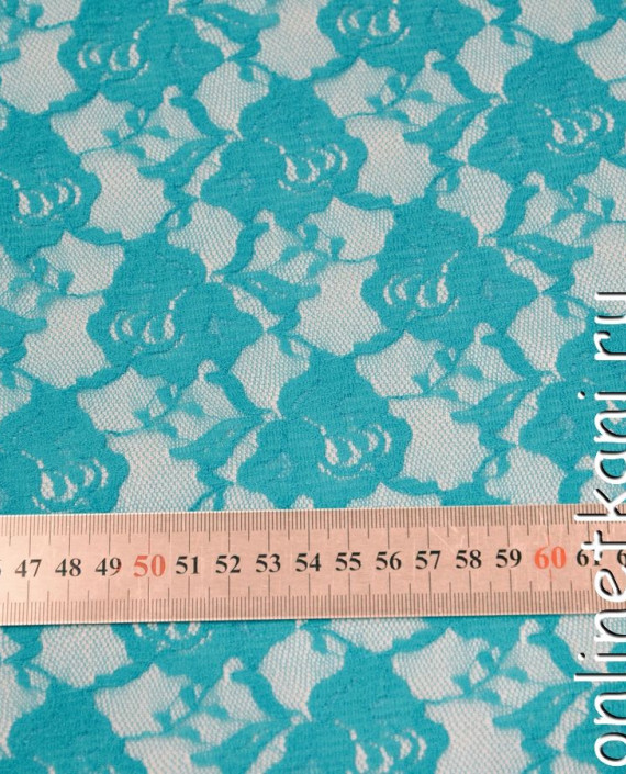 Ткань Гипюр-стрейч 129 цвет бирюзовый цветочный картинка 1