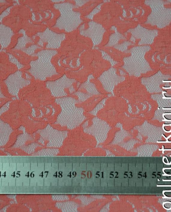 Ткань Гипюр-стрейч 131 цвет розовый цветочный картинка 1