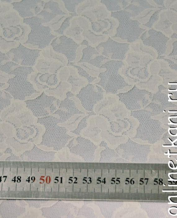 Ткань Гипюр-стрейч 132 цвет айвори цветочный картинка 1