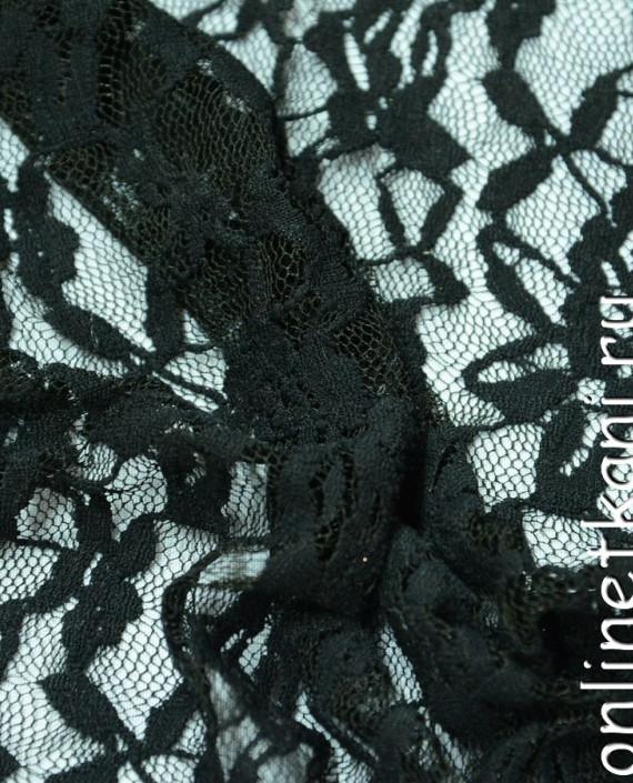 Ткань Гипюр-стрейч 134 цвет серый цветочный картинка 1