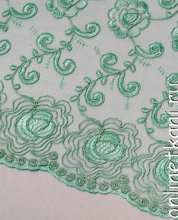 Ткань Гипюр 138 цвет зеленый цветочный картинка