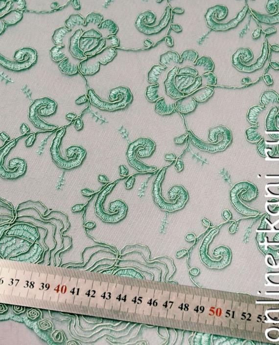 Ткань Гипюр 138 цвет зеленый цветочный картинка 2