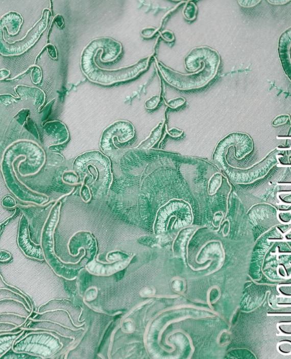 Ткань Гипюр 138 цвет зеленый цветочный картинка 1