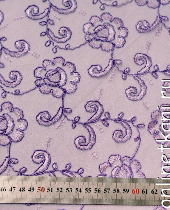 Ткань Гипюр 139 цвет сиреневый цветочный картинка 2