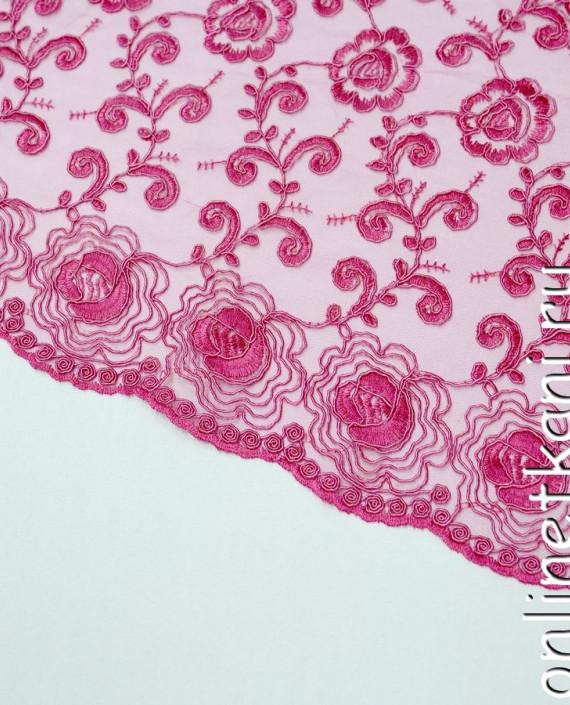Ткань Гипюр 140 цвет розовый цветочный картинка