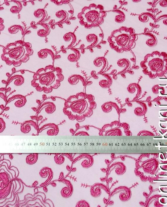 Ткань Гипюр 140 цвет розовый цветочный картинка 2