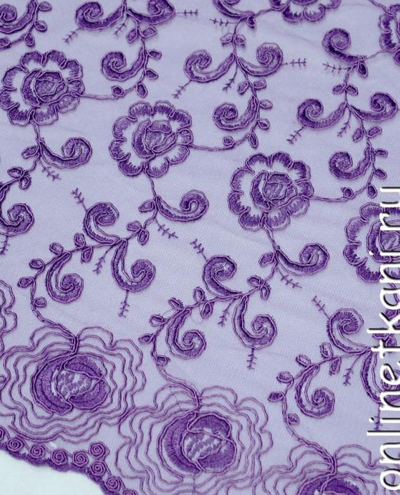 Ткань Гипюр 141 цвет фиолетовый цветочный картинка