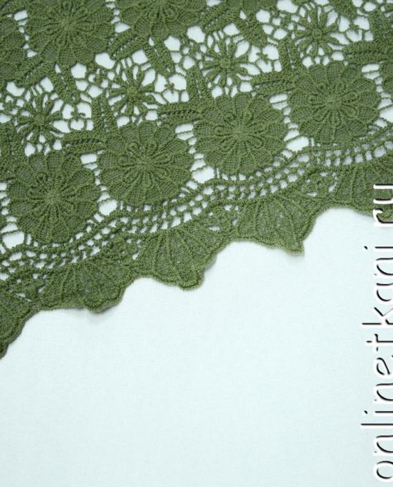 Ткань Гипюр 144 цвет зеленый цветочный картинка