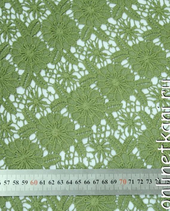 Ткань Гипюр 144 цвет зеленый цветочный картинка 2