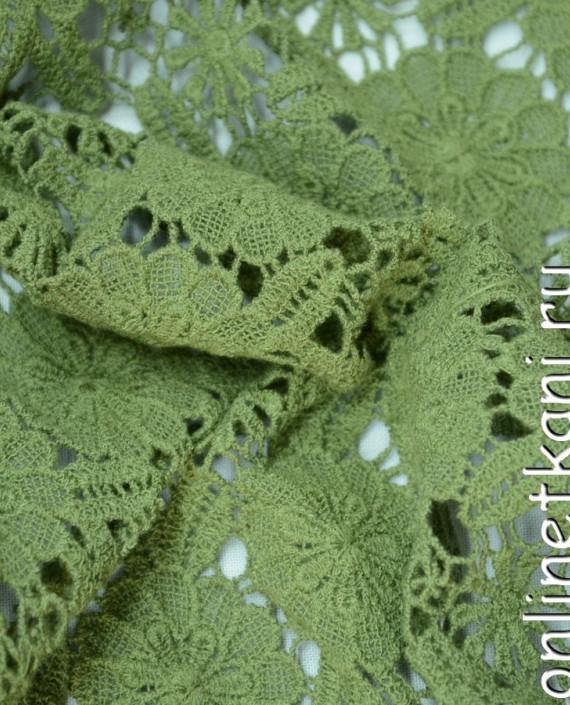 Ткань Гипюр 144 цвет зеленый цветочный картинка 1