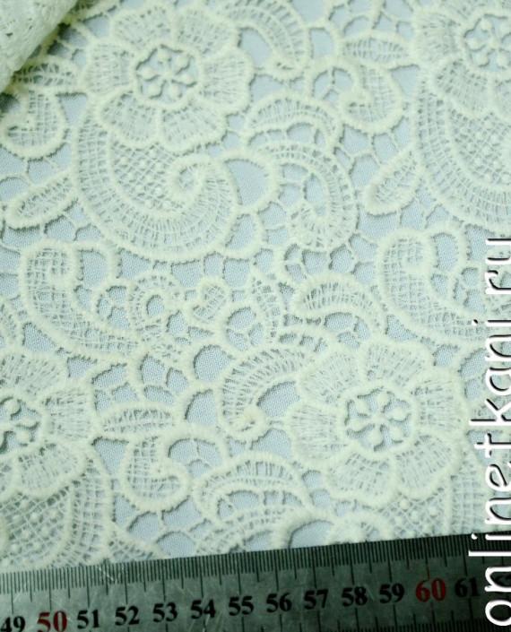 Ткань Гипюр 145 цвет белый цветочный картинка 2