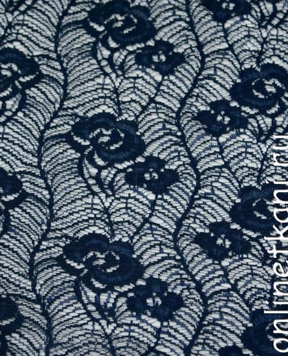 Ткань Гипюр 149 цвет синий цветочный картинка