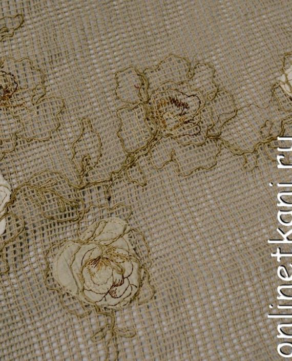 Ткань Гипюр 159 цвет бежевый цветочный картинка