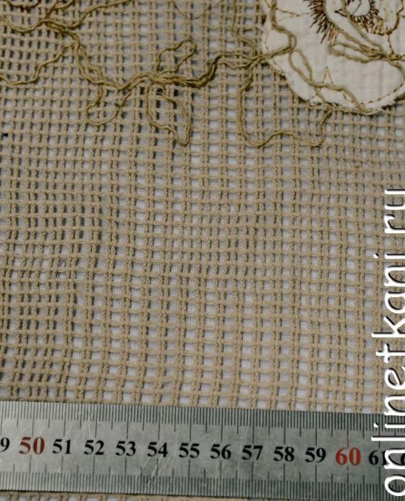 Ткань Гипюр 159 цвет бежевый цветочный картинка 2