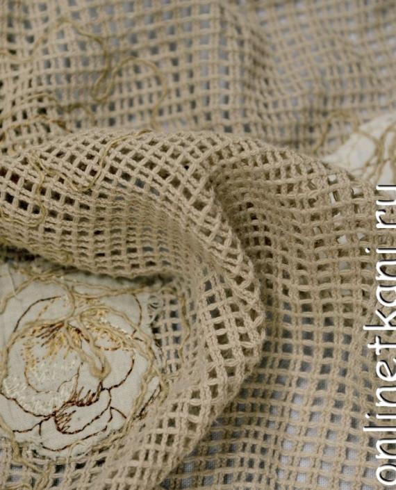 Ткань Гипюр 159 цвет бежевый цветочный картинка 1