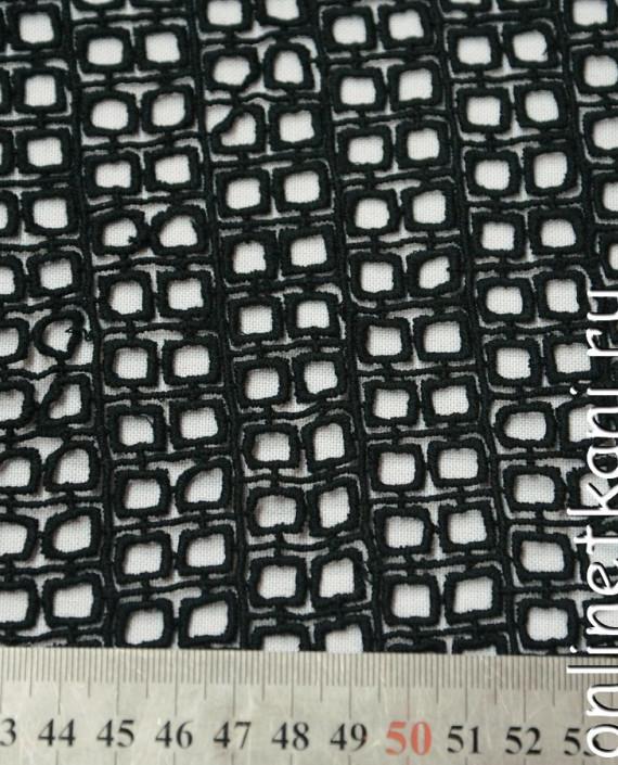Ткань Гипюр 162 цвет черный геометрический картинка 1