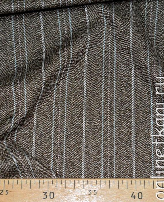 Ткань хлопок 0277 цвет коричневый в полоску картинка 2