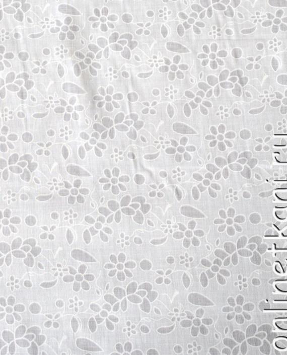"""Ткань Хлопок """"Воздушный"""" 0054 цвет белый цветочный картинка"""