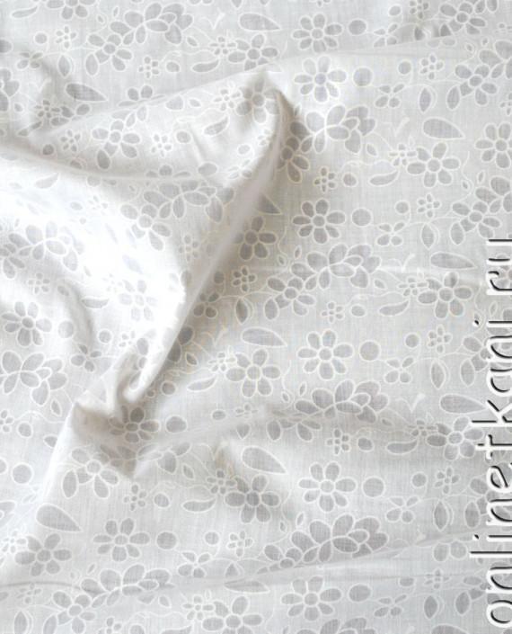 """Ткань Хлопок """"Воздушный"""" 0054 цвет белый цветочный картинка 1"""