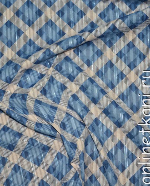 """Ткань Хлопок """"Морская клетка"""" 0119 цвет голубой в клетку картинка"""