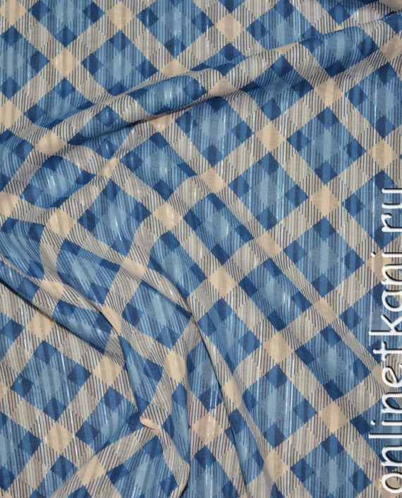 """Ткань Хлопок """"Морская клетка"""" 0119 цвет голубой в клетку картинка 1"""