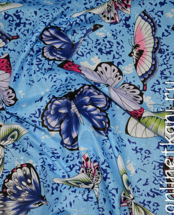 """Ткань Хлопок """"Небесные бабочки"""" 0123 цвет голубой абстрактный картинка"""