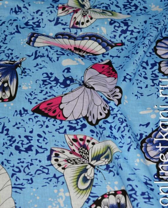 """Ткань Хлопок """"Небесные бабочки"""" 0123 цвет голубой абстрактный картинка 1"""