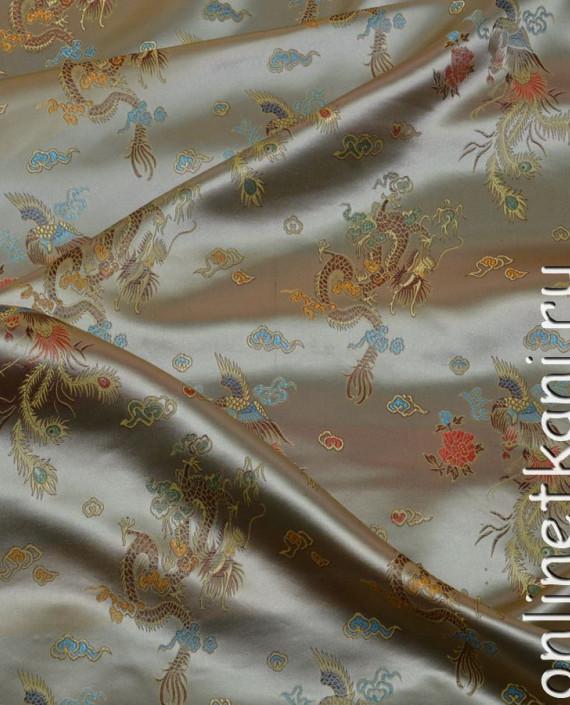 """Ткань Китайский шелк """"Нефритовый Дракон"""" 0015 цвет хаки абстрактный картинка"""