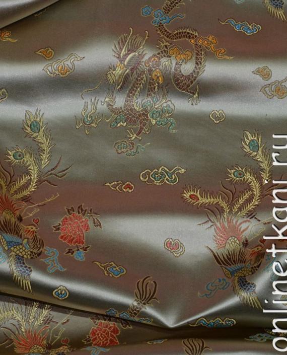 """Ткань Китайский шелк """"Нефритовый Дракон"""" 0015 цвет хаки абстрактный картинка 2"""