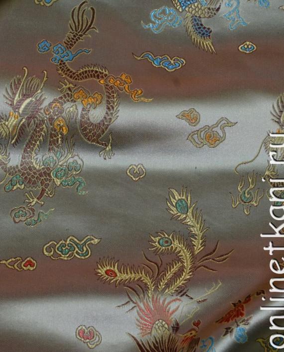"""Ткань Китайский шелк """"Нефритовый Дракон"""" 0015 цвет хаки абстрактный картинка 1"""
