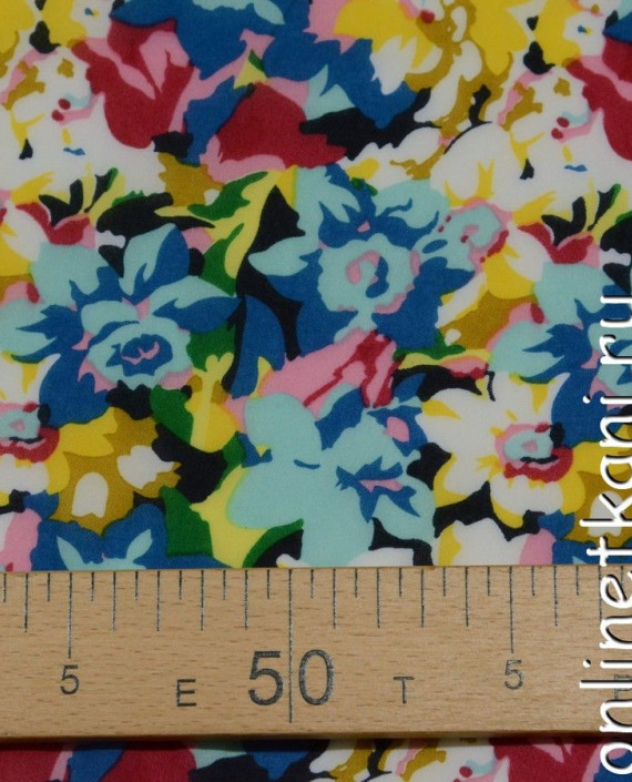 Ткань Шифон Набивной  0144 цвет разноцветный цветочный картинка 1
