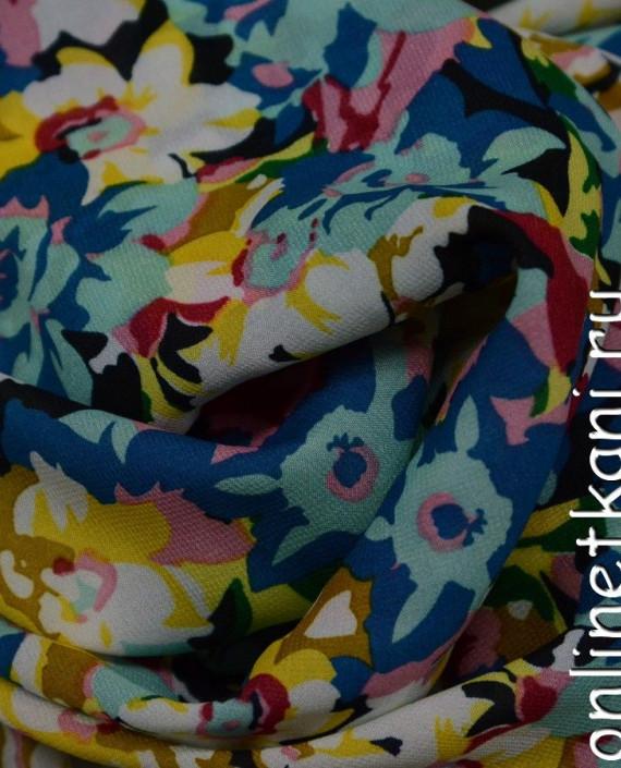 Ткань Шифон Набивной  0144 цвет разноцветный цветочный картинка 2