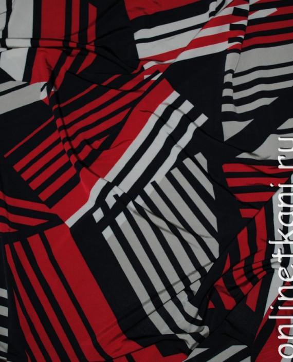 """Ткань трикотаж """"Красное, белое, черное"""" 0012 цвет разноцветный геометрический картинка"""