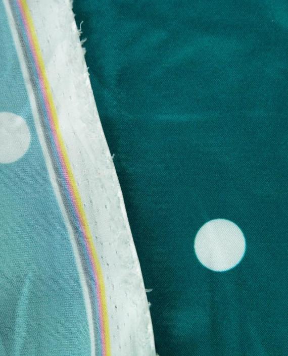 Атлас стрейч принт 309 цвет бирюзовый горохи картинка 1