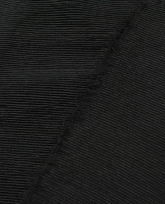 Трикотаж резинка 3117 цвет черный полоска картинка 1