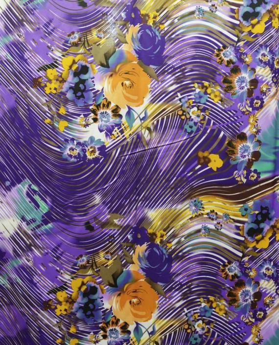 Ткань Атлас Принт 145 цвет фиолетовый цветочный картинка