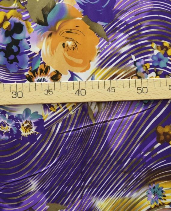 Ткань Атлас Принт 145 цвет фиолетовый цветочный картинка 2