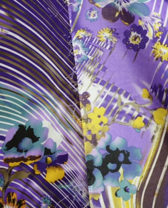 Ткань Атлас Принт 145 цвет фиолетовый цветочный картинка 1