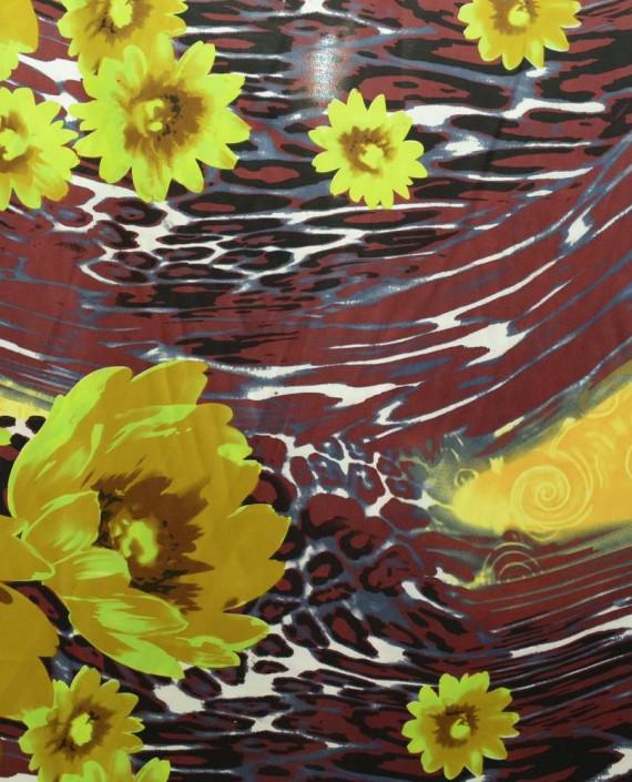 Ткань Атлас Принт 147 цвет коричневый цветочный картинка
